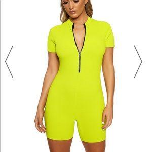 Naked wardrobe LIME GREEN romper! Size L